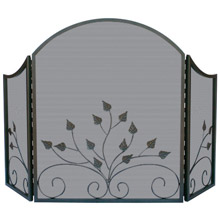 Blue Rhino S-1985 Three Fold Arch Top Fireplace Screen with Leaves