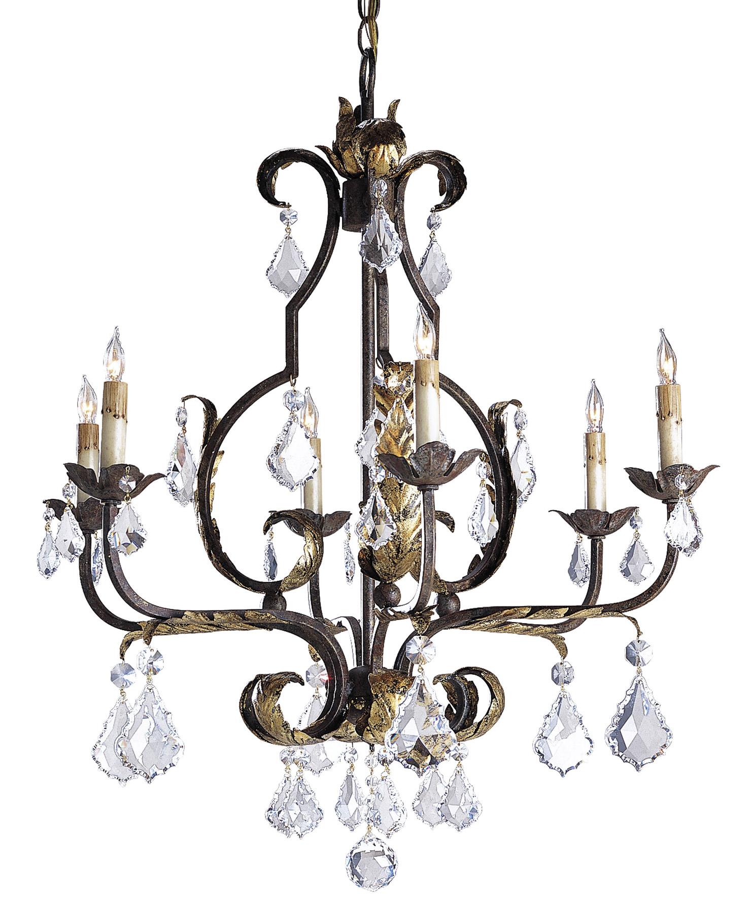 Currey And Company 9828 Crystal Tuscan Six Light Chandelier
