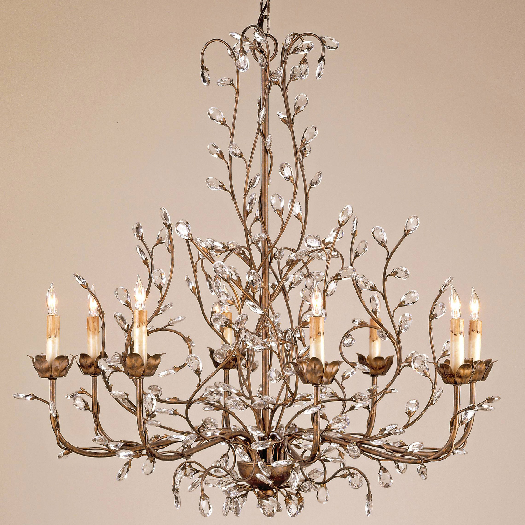 and Company 9884 Crystal Crystal Bud Eight Light Chandelier – Currey and Company Lighting Chandeliers