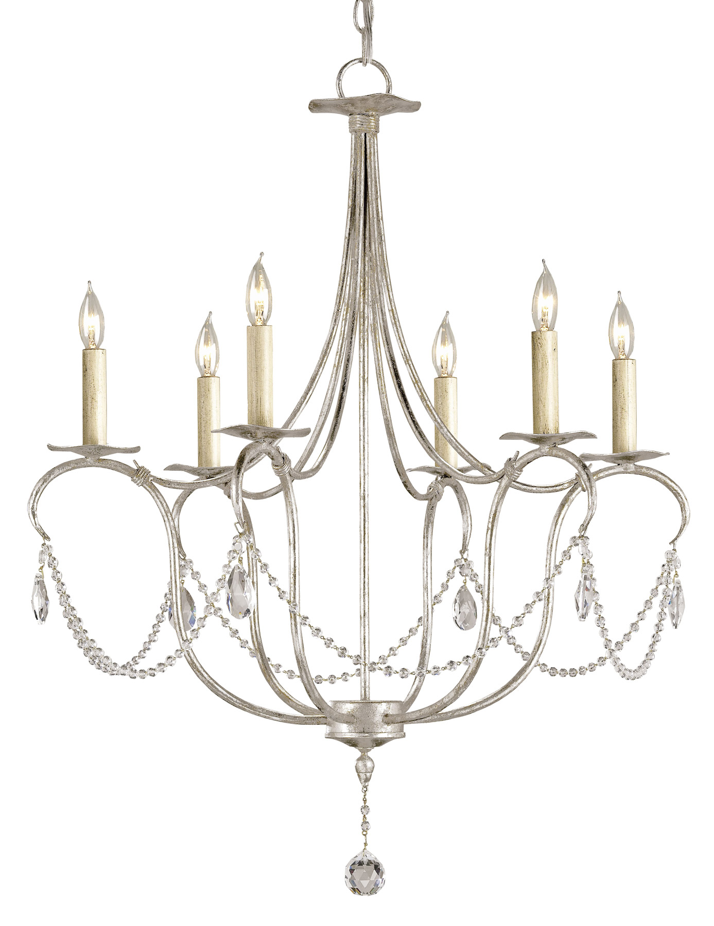 Currey and company 9890 crystal lights six light chandelier - Ceiling lights and chandeliers ...
