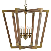 Currey and Company 9000-0008 Bastian Wood Chandelier Lantern