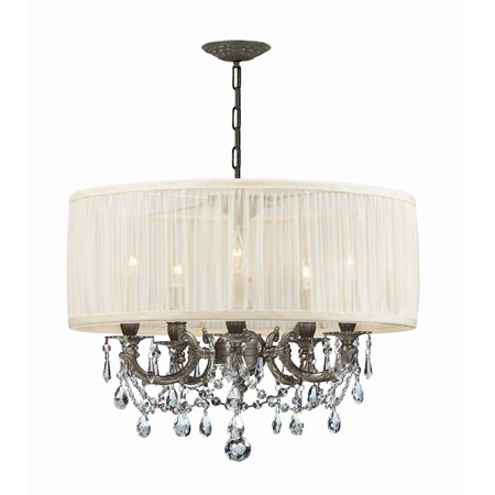 Crystorama 5535-PW-SAW-CLM Gramercy 5 Light Pewter Drum Shade Chandelier