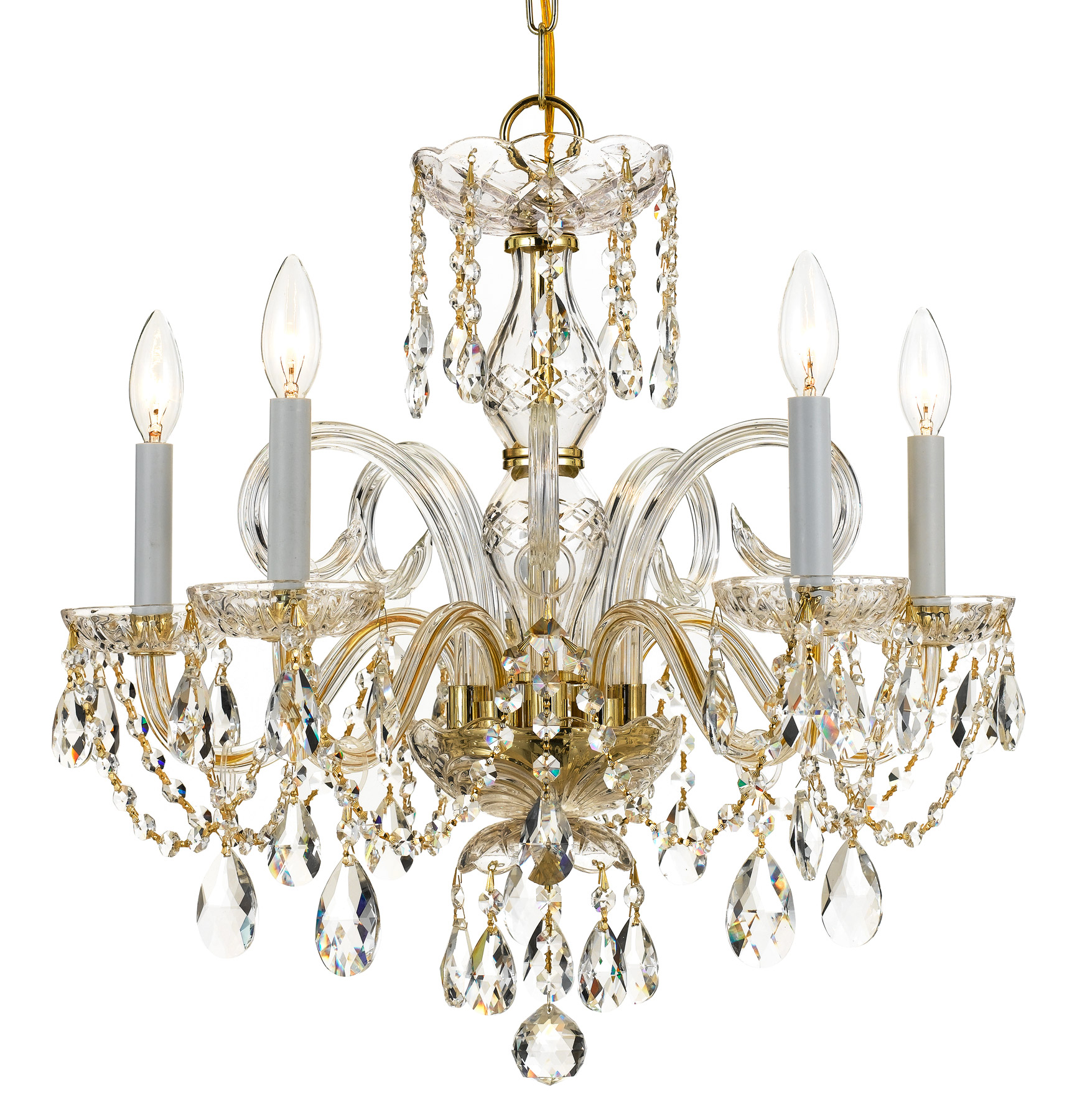 Crystorama 1005 pb cl mwp crystal 5 light crystal brass chandelier mozeypictures Images