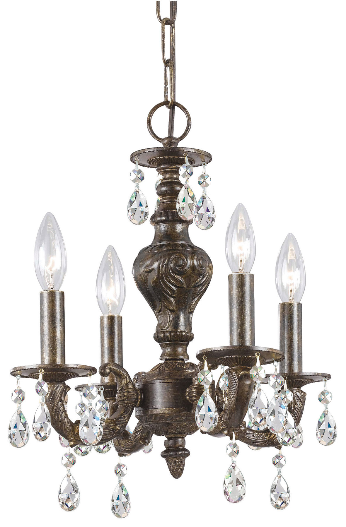 Crystorama 5024 Vb Cl Mwp Paris Market 4 Light Clear Crystal Bronze Mini Chandelier