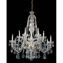 Crystorama 1112-PB-CL-MWP Crystal 12 Light Clear Crystal Brass Chandelier