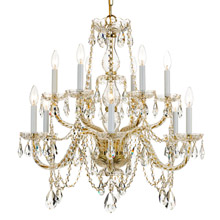 Crystorama 1135-PB-CL-MWP Crystal 12 Light Clear Crystal Brass Chandelier