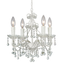 Crystorama 4514-WW-CLEAR Paris Market 4 Light Clear Crystal White Mini Chandelier