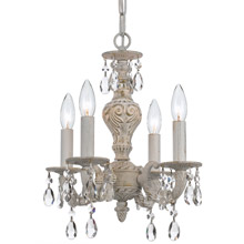Crystorama 5024-AW-CL-MWP Paris Market 4 Light Clear Crystal White Mini Chandelier