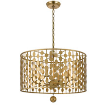 Crystorama 546-GA Layla 6 Light Antique Gold Pendant Chandelier