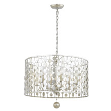 Crystorama 546-SA Layla 6 Light Antique Silver Pendant Chandelier