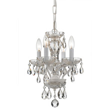 Crystorama 5534-WW-CL-MWP Crystal 4 Light White Mini Chandelier