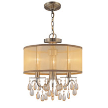 Crystorama 5623-AB Hampton 3 Light Brass Etruscan Crystal Drum Shade Chandelier