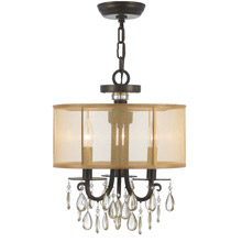 Crystorama 5623-EB Hampton 3 Light Bronze Etruscan Crystal Drum Shade Chandelier