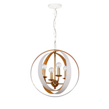 Crystorama 584-MT-GA Luna 4 Light White & Gold Sphere Mini Chandelier