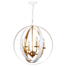 Crystorama 585-MT-GA Luna 6 Light White & Gold Sphere Large Chandelier