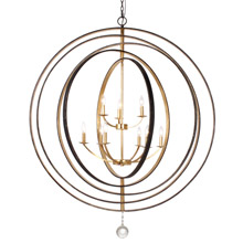 Crystorama 587-EB-GA Luna 9 Light English Bronze & Antique Gold Chandelier