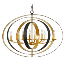 Crystorama 588-EB-GA Luna 8 Light Bronze & Gold Oval Chandelier