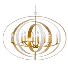 Crystorama 588-MT-GA Luna 8 Light Matte white & Antique Gold Chandelier