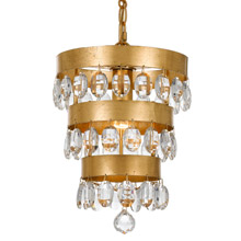 Crystorama 6103-GA Perla 1 Light Antique Gold Mini Chandelier
