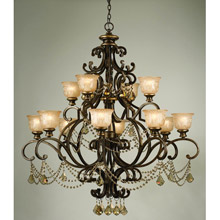 Crystorama 7512-BU-GT-MWP Norwalk 12 Light Golden Teak Crystal Chandelier
