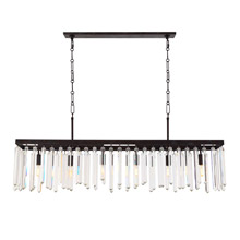 Crystorama 8407-FB Crystal Hollis 6 Light Bronze Linear Chandelier