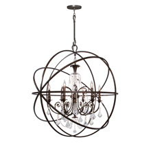 Crystorama 9219-EB-CL-MWP Solaris 6 Light Crystal Bronze Sphere Chandelier