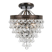 Transitional Calypso 3 Light Crystal Teardrop Bronze Semi-Flush - Crystorama 130-VZ_CEILING