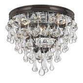 Transitional Calypso 3 Light Bronze Flush Mount - Crystorama 135-VZ