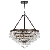 Transitional Calypso 6 Light Crystal Teardrop Bronze Chandelier - Crystorama 136-VZ