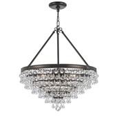 Transitional Calypso 8 Light Crystal Teardrop Bronze Chandelier - Crystorama 137-VZ