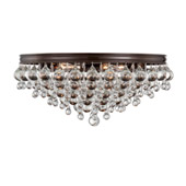 Transitional Calypso 6 Light Crystal Teardrop Vibrant Bronze Ceiling Mount - Crystorama 138-VZ