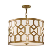 Libby Langdon for Crystorama Jennings 3 Light Aged Brass Chandelier - 2265-AG