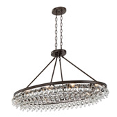 Calypso 8 Light Crystal Teardrop Vibrant Bronze Oval Chandelier - Crystorama 279-VZ