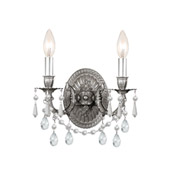 Traditional Gramercy 2 Light Clear Crystal Pewter Sconce - Crystorama 5522-PW-CL-MWP