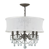 Traditional Gramercy 5 Light Pewter Smooth Drum Shade Chandelier - Crystorama 5535-PW-SMW-CLM