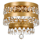 Transitional Perla 4 Light Antique Gold Ceiling Mount - Crystorama 6100-GA