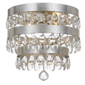 Transitional Perla 4 Light Antique Silver Ceiling Mount - Crystorama 6100-SA