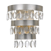 Transitional Perla 2 Light Antique Silver Sconce - Crystorama 6102-SA