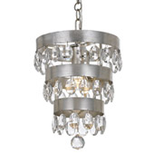 Transitional Perla 1 Light Antique Silver Mini Chandelier - Crystorama 6103-SA