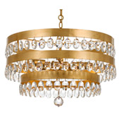 Transitional Perla 5 Light Antique Gold Chandelier - Crystorama 6106-GA