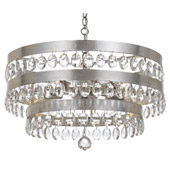 Transitional Perla 5 Light Antique Silver Chandelier - Crystorama 6106-SA