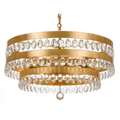 Transitional Perla 6 Light Antique Gold Chandelier - Crystorama 6108-GA
