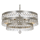 Transitional Perla 6 Light Antique Silver Chandelier - Crystorama 6108-SA