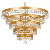 Transitional Perla 9 Light Antique Gold Chandelier - Crystorama 6109-GA