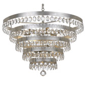 Transitional Perla 9 Light Antique Silver Chandelier - Crystorama 6109-SA