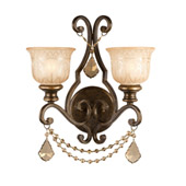 Traditional Norwalk 2 Light Golden Teak Crystal Bronze Sconce - Crystorama 7502-BU-GT-MWP