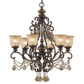Traditional Norwalk 6 Light Golden Teak Crystal Chandelier - Crystorama 7516-BU-GT-MWP