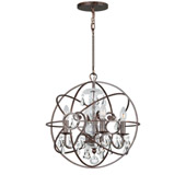 Industrial Solaris 4 Light Clear Crystal Bronze Mini Chandelier - Crystorama 9025-EB-CL-MWP