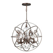 Industrial Solaris 5 Light Crystal Bronze Sphere Chandelier - Crystorama 9026-EB-CL-MWP