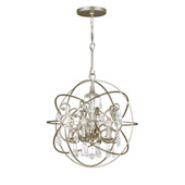 Industrial Solaris 5 Light Crystal Silver Sphere Chandelier - Crystorama 9026-OS-CL-MWP
